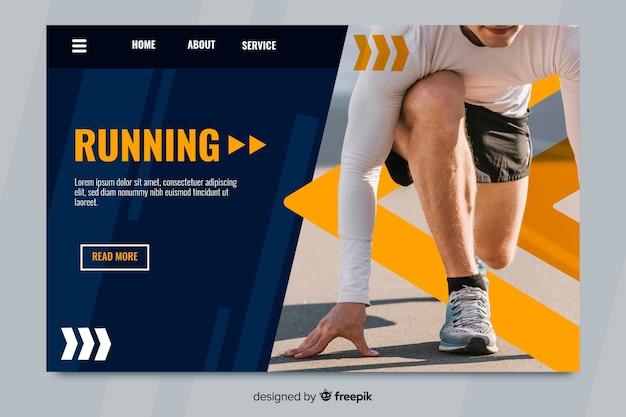 Спортивная посадочная страница со спортсменом Бесплатные векторы