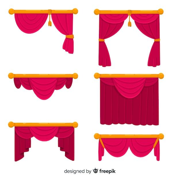 Плоский дизайн коллекции красный занавес Бесплатные векторы
