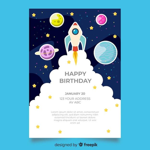 Детский шаблон приглашения на день рождения Бесплатные векторы