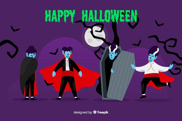 フラットなデザインの吸血鬼キャラクターコレクション 無料ベクター