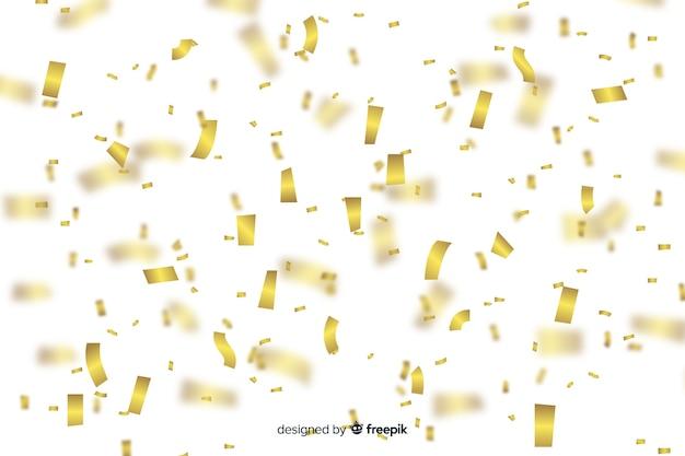 現実的な金色の紙吹雪の背景 無料ベクター