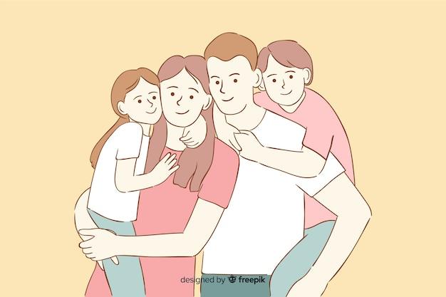 韓国の描画スタイルの若い家族 無料ベクター