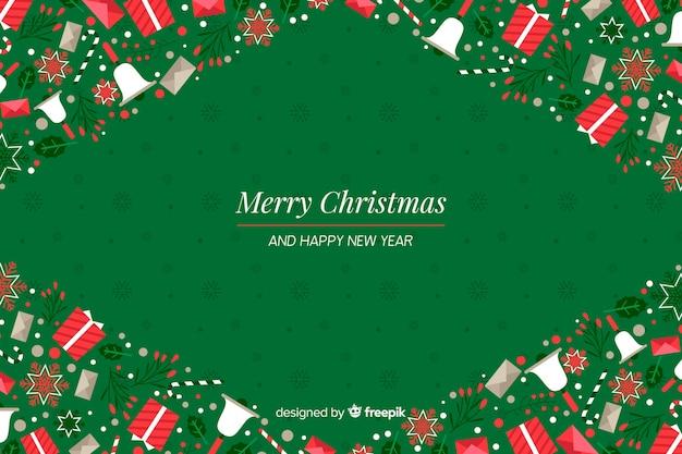 Плоский новогодний фон с новым годом Бесплатные векторы