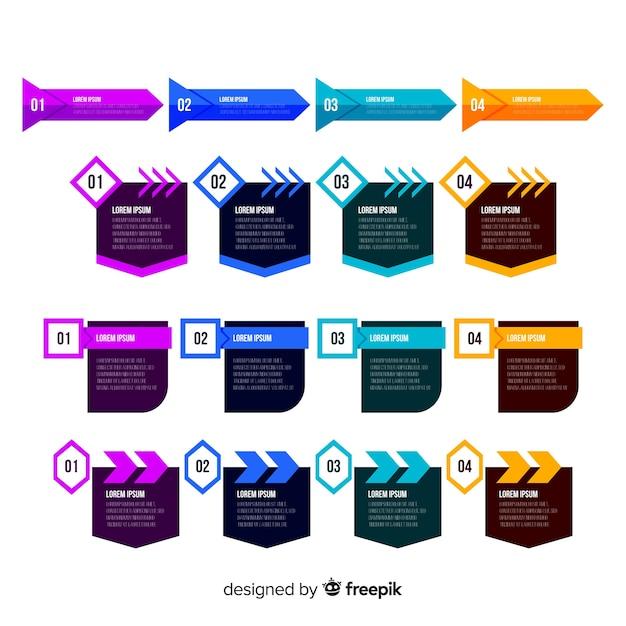 フラットなデザインのインフォグラフィックの手順 無料ベクター