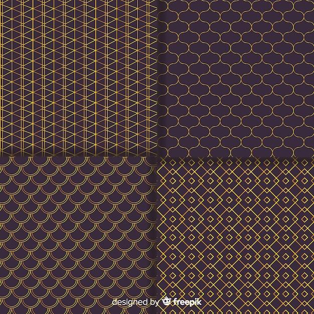 幾何学的な茶色の高級パターンコレクション 無料ベクター