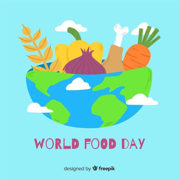 Ручной обращается всемирный день еды Бесплатные векторы
