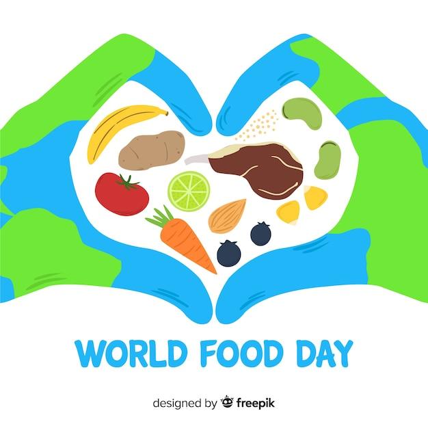 Ручной обращается мир еды да Бесплатные векторы