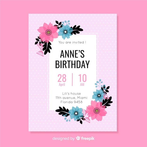 Плоский дизайн цветочный красочный шаблон приглашения дня рождения Бесплатные векторы