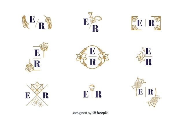 Орнаментальная свадебная роскошная коллекция моногам Бесплатные векторы