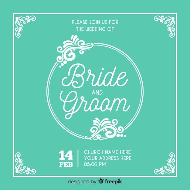 装飾的な日付の結婚式の招待状を保存 無料ベクター