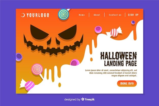 Плоский дизайн целевой страницы хэллоуин Бесплатные векторы
