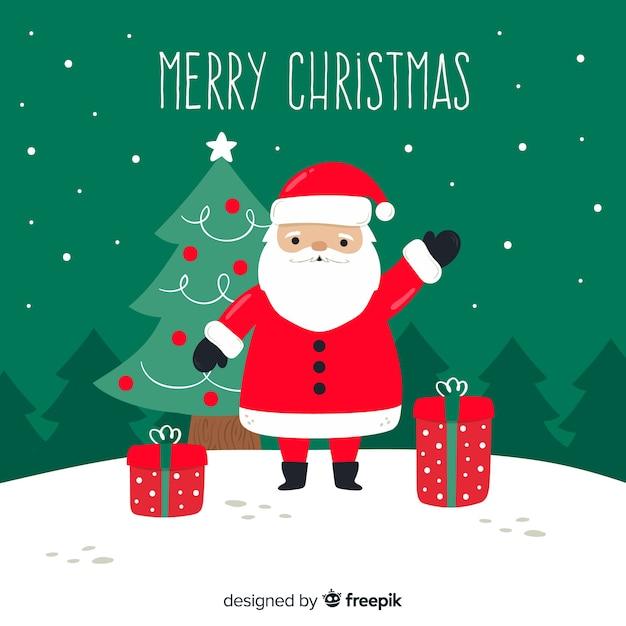 手描きのクリスマスの背景にサンタクロース、ギフト 無料ベクター