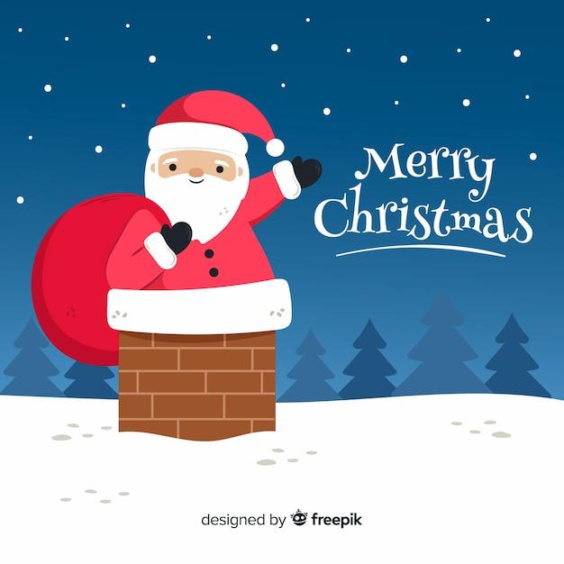 手描きのメリークリスマスの背景 無料ベクター