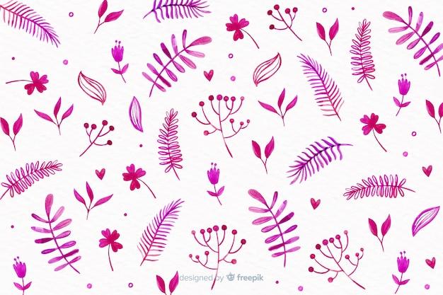単色の水彩花の背景 無料ベクター