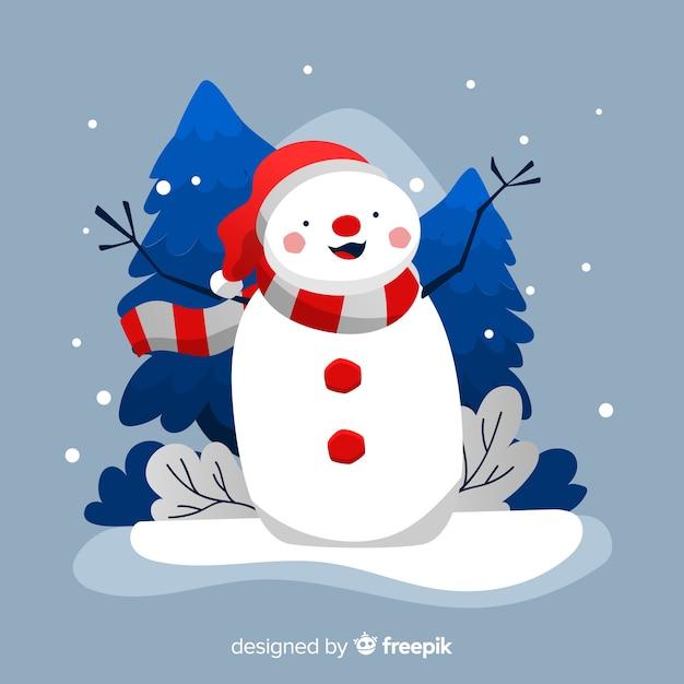 手描きの雪だるまとクリスマスの背景 無料ベクター