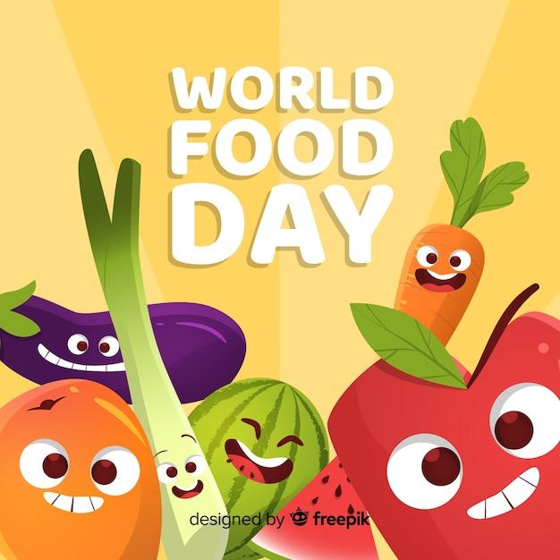 カラフルな手描きの世界の食べ物の日 無料ベクター