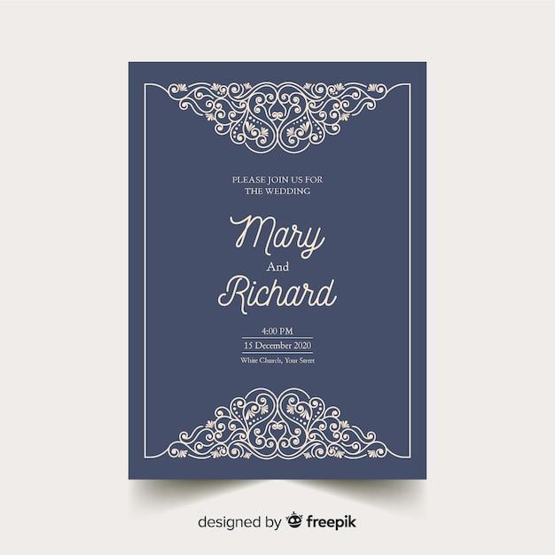 Цветочный шаблон свадебного приглашения Бесплатные векторы