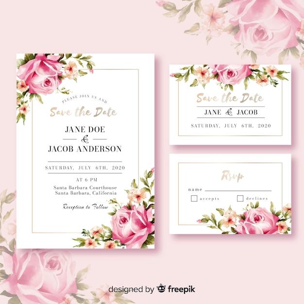 カラフルな花の結婚式の招待状 無料ベクター