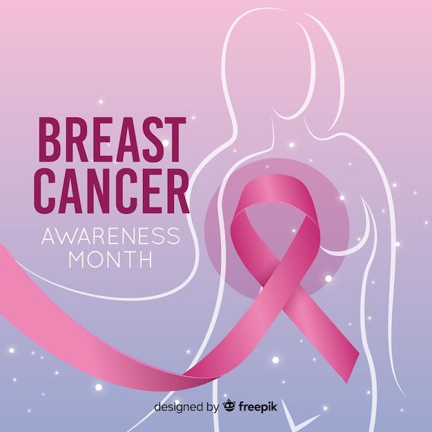 Осведомленность рака молочной железы реалистичный дизайн Бесплатные векторы