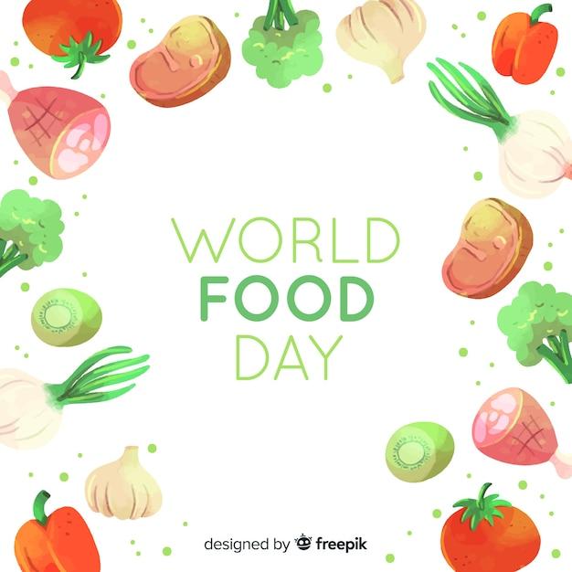 水彩世界食の日 無料ベクター