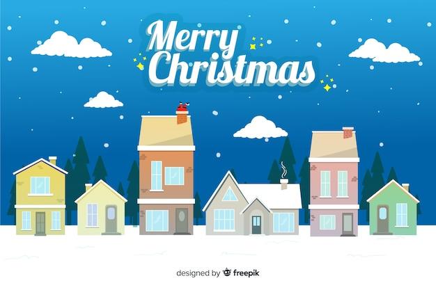 フラットクリスマス背景お祝い 無料ベクター