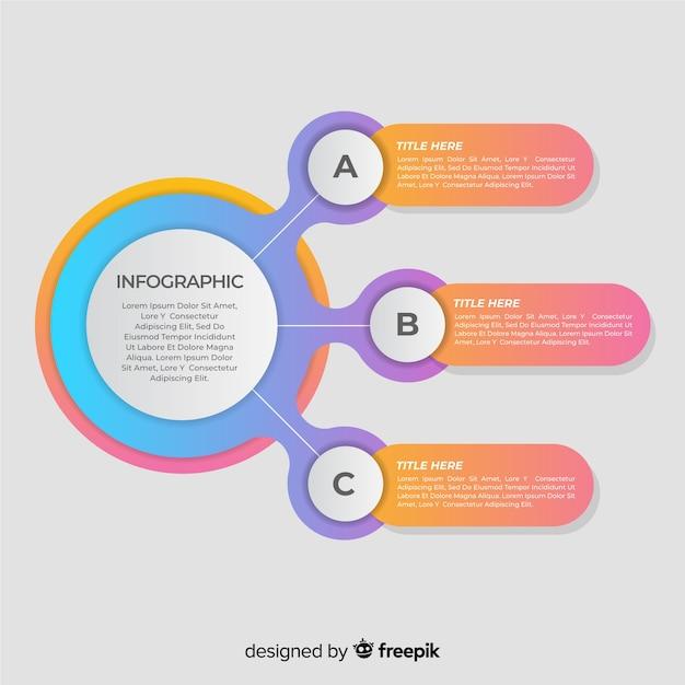 Красочный градиент инфографики шаги Бесплатные векторы