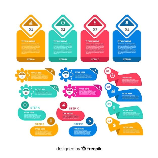 Плоский дизайн инфографики элемент коллекции Бесплатные векторы