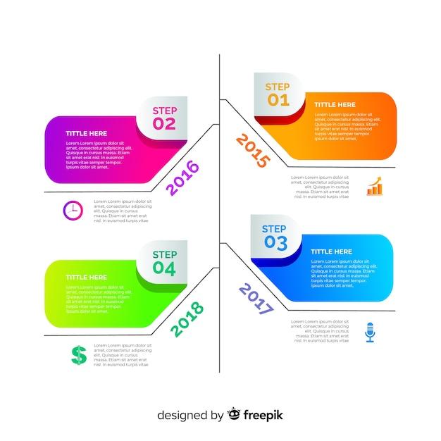 Красочный градиент временной шкалы инфографики Бесплатные векторы