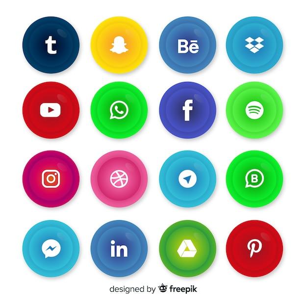 ソーシャルメディアのロゴコレクションと現実的なボタン 無料ベクター