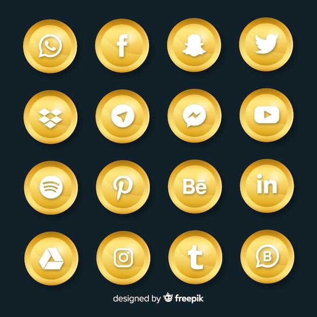 Роскошная коллекция логотипов в социальных сетях Бесплатные векторы
