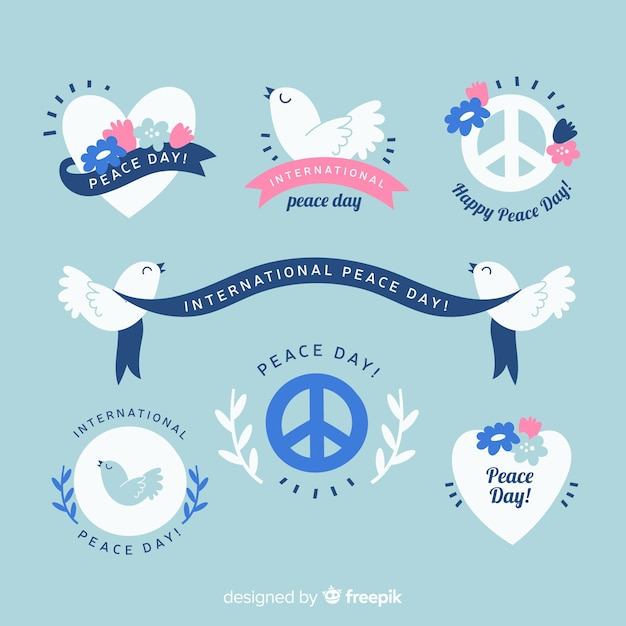 フラットなデザインの平和の日バッジコレクション 無料ベクター