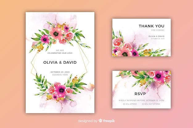 Акварель цветочные свадебные приглашения шаблон Бесплатные векторы