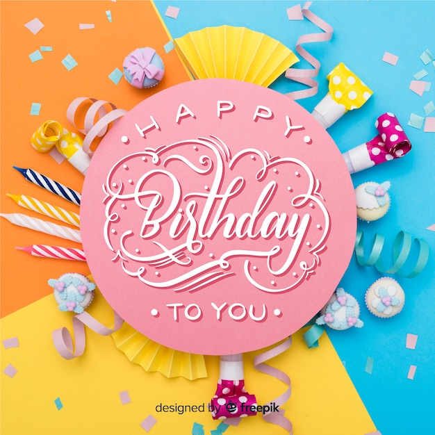 С днем рождения надписи с фото Бесплатные векторы