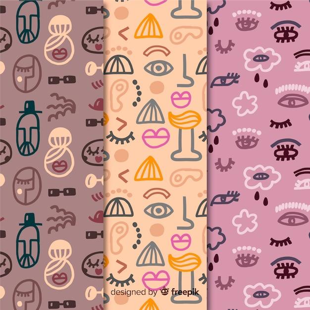 手描き紫とピンクの抽象的なパターンコレクション 無料ベクター