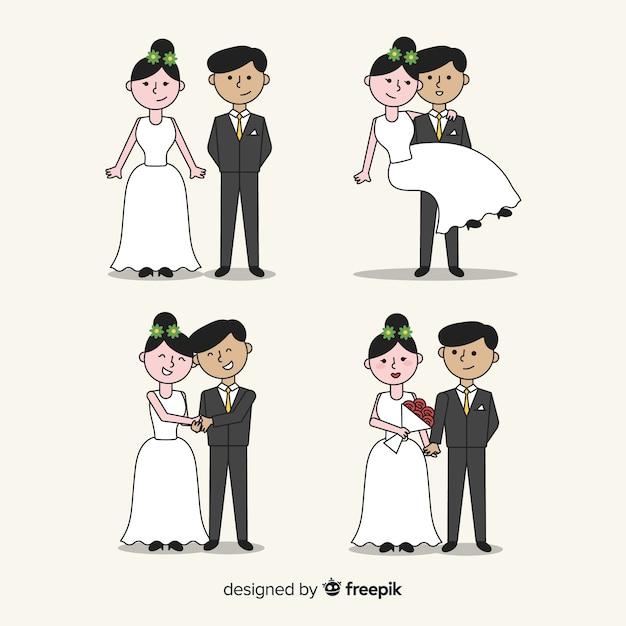 手描きの結婚式のカップルのコレクション 無料ベクター