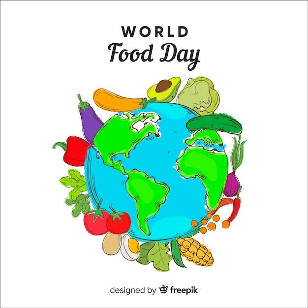 手描きの世界食の日 無料ベクター