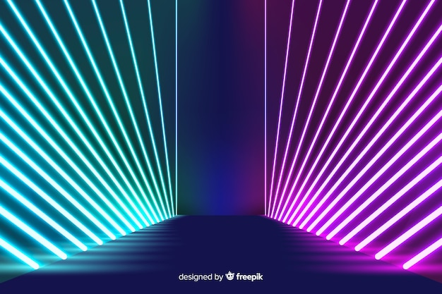 Неоновые огни расположены фон сцены Бесплатные векторы
