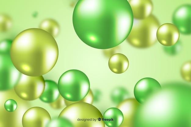 Реалистичные плавные зеленые глянцевые шары фон Бесплатные векторы