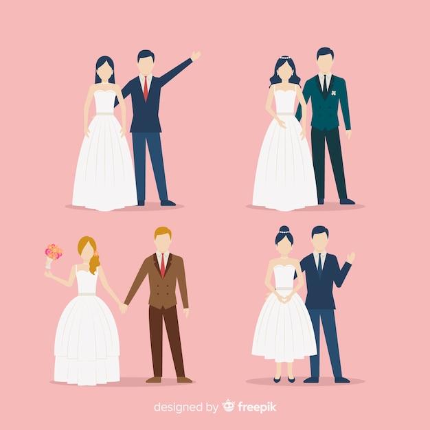 結婚式のカップルコレクションのフラットなデザイン 無料ベクター