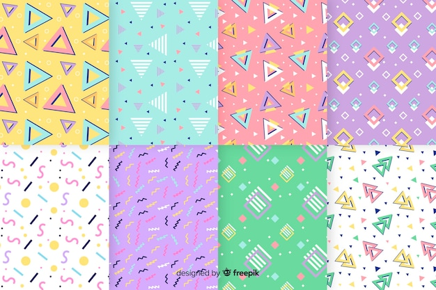 複数の形状のメンフィスパターンコレクション 無料ベクター