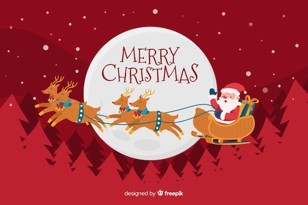 手描きのクリスマス背景にサンタクロースのそり 無料ベクター