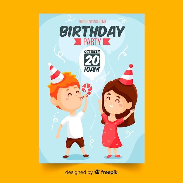 フラットなデザインの子供の誕生日の招待状のテンプレート 無料ベクター
