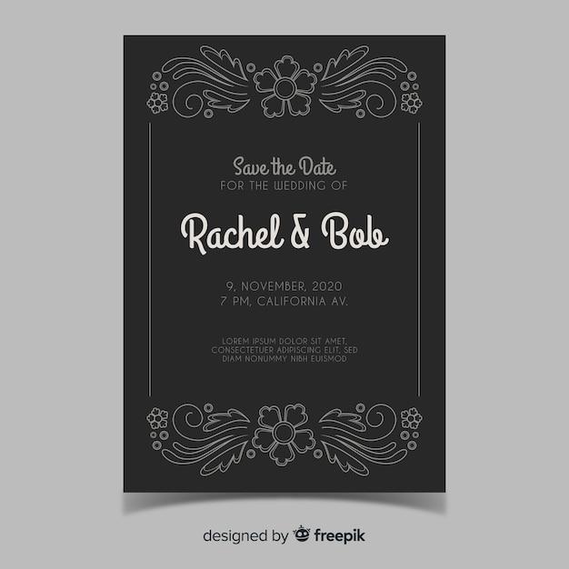Ретро-орнамент свадебное приглашение Бесплатные векторы