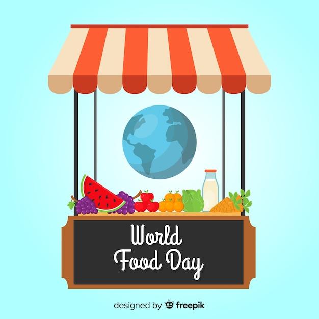 Всемирный день продовольствия, магазин с продуктами Бесплатные векторы
