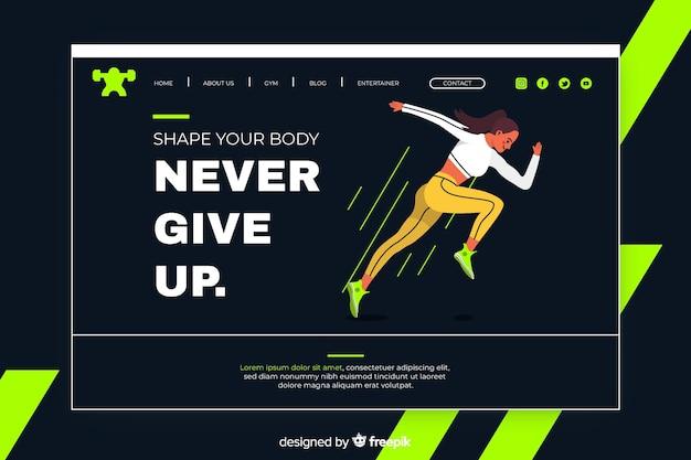 Спортивная посадочная страница с бегущей женщиной Бесплатные векторы