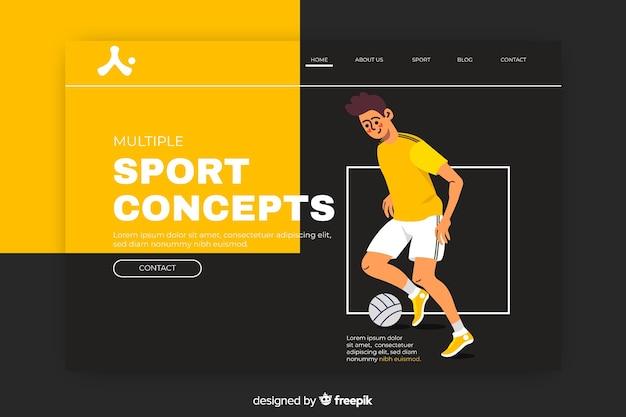 サッカー男とスポーツのランディングページ 無料ベクター