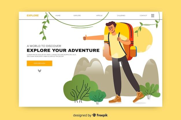 興奮した男と冒険のランディングページ 無料ベクター