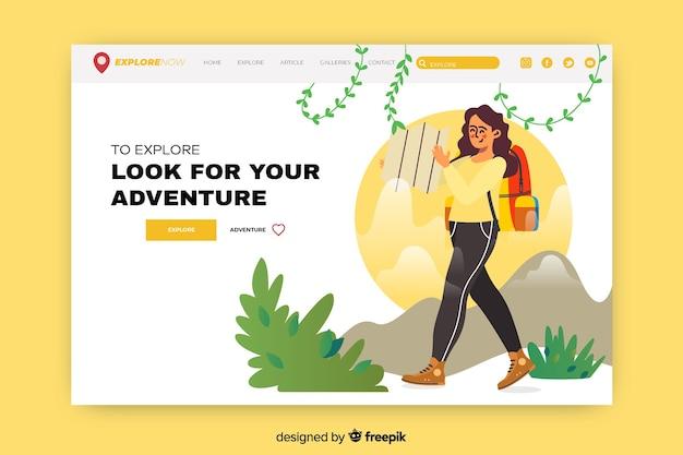 興奮した女性との冒険のランディングページ 無料ベクター