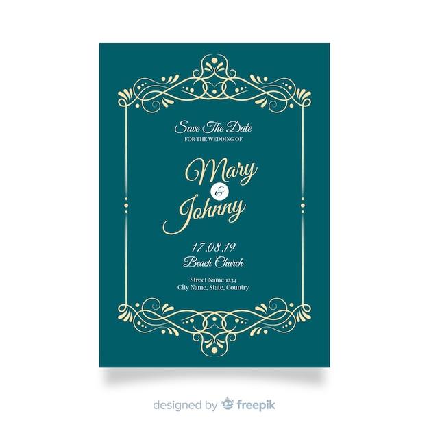 ビンテージ装飾用結婚式招待状のテンプレート 無料ベクター