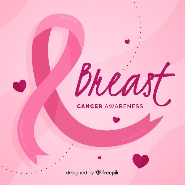 ピンクリボンフラットデザインと乳がんの意識 無料ベクター